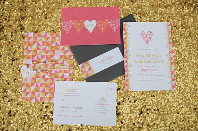 geometric heart invitation