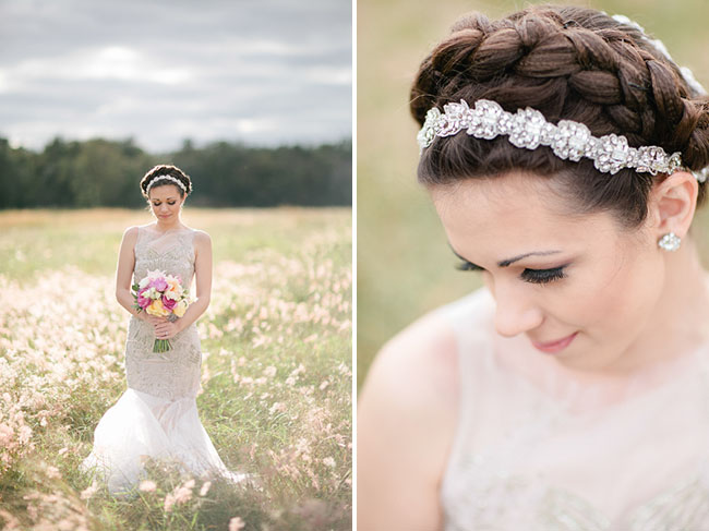 crystal hair piece and braids