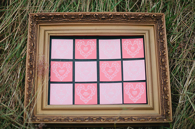 heart escort card frame