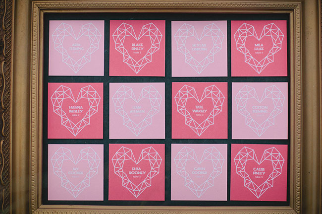 heart escort card frame