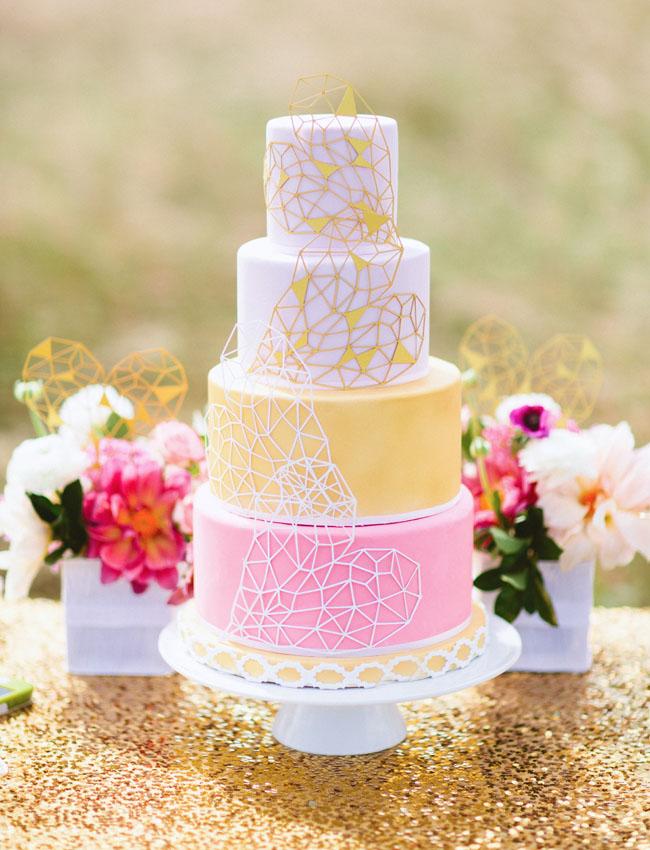 pink geometric heart cake