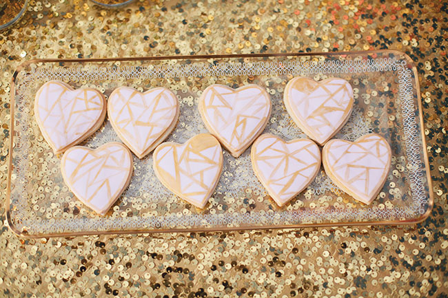 geometric heart cookies