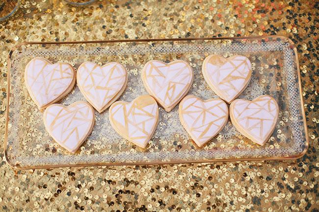 geometric heart cookies