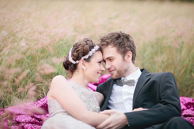 geometric heart bride and groom