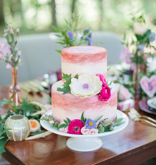 pink watercolor cake