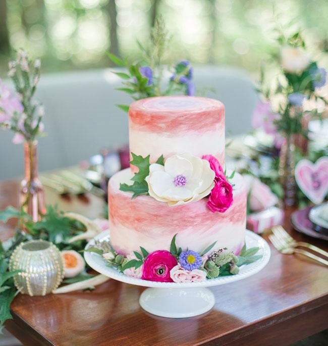 pink watercolor cake