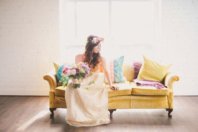 gold dress bride