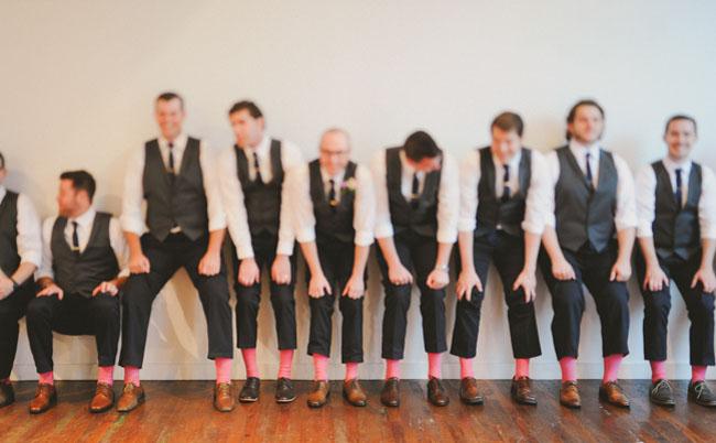 pink socked groomsmen