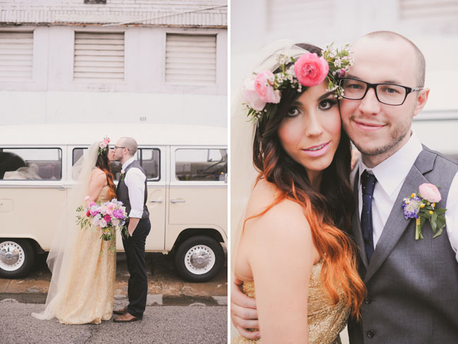 bride and groom with vw bus