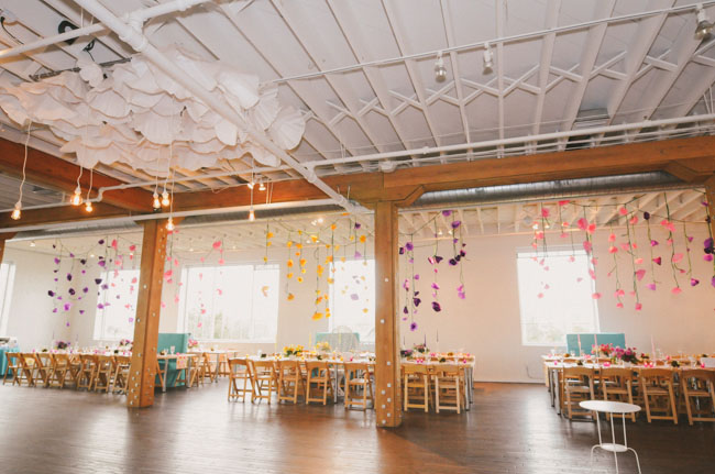 hanging paper flower decor