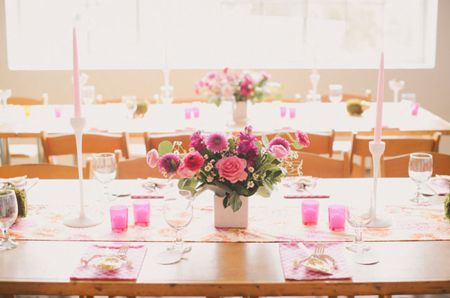 pink themed table