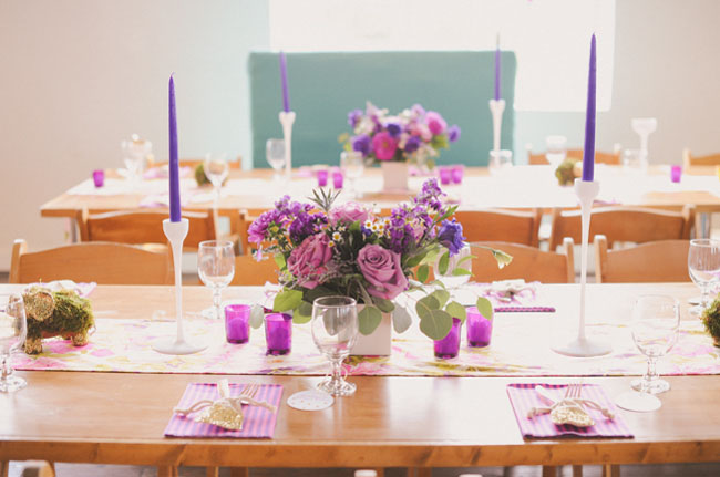 purple themed table