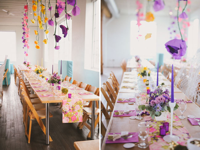hanging paper flowers over tables