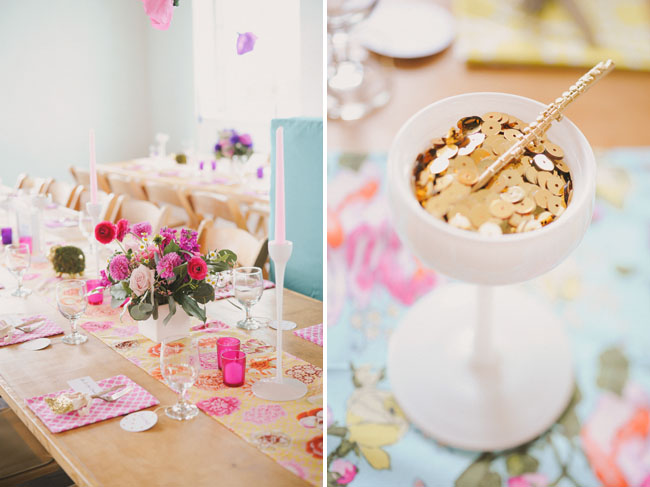 gold sequins in a cup