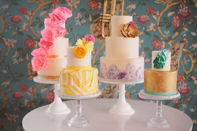 four colorful cakes