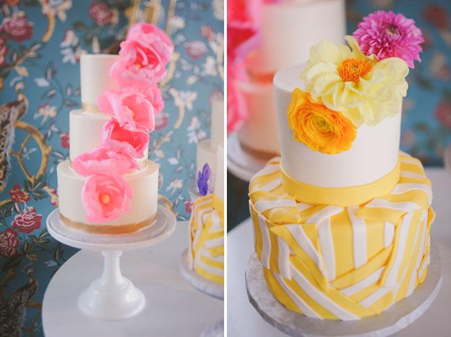 pink cascading flower cake
