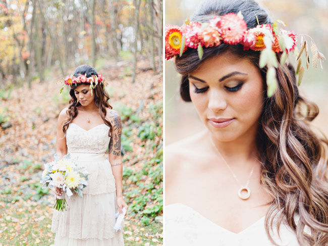 flower crown bride red