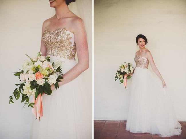 gold brides dress