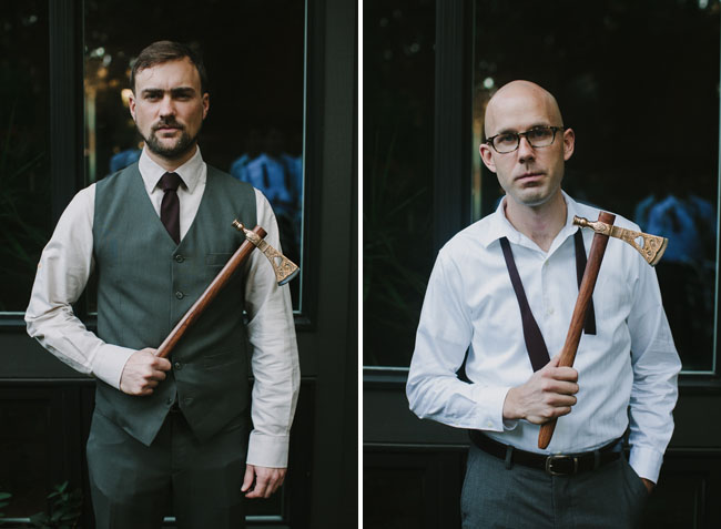 groomsmen with ax