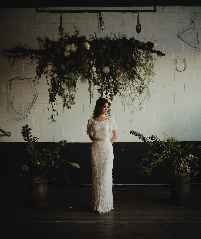 lace overlay bride's dress