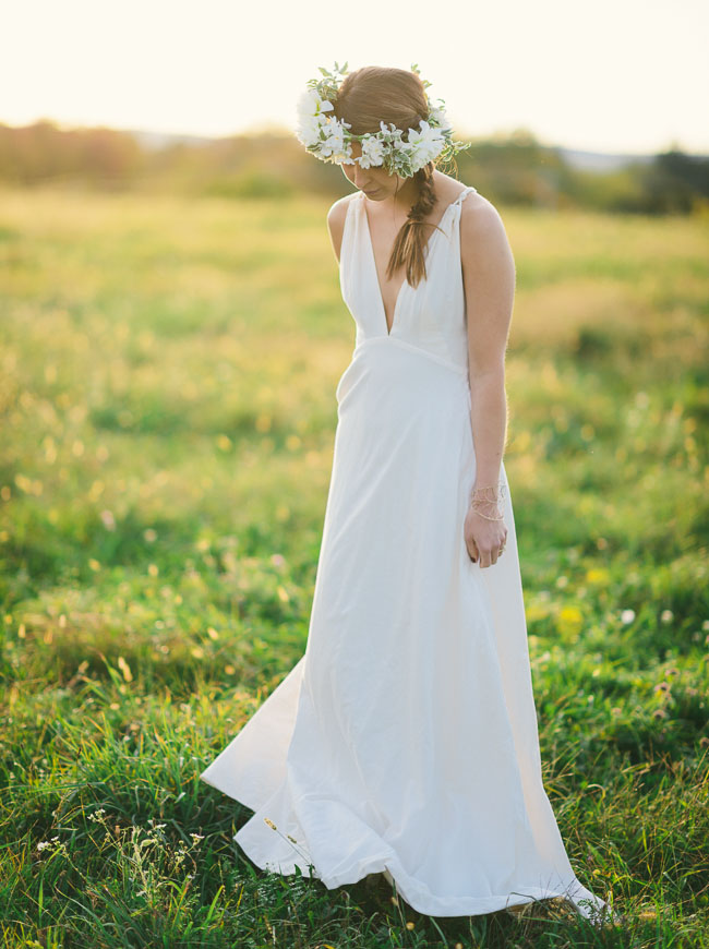 flower crown golden hour bride