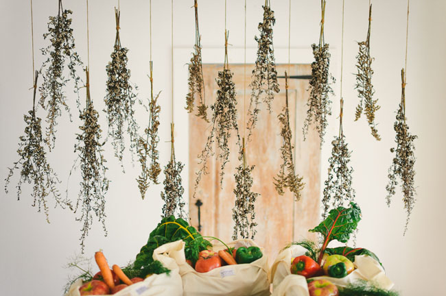 hanging dried herbs