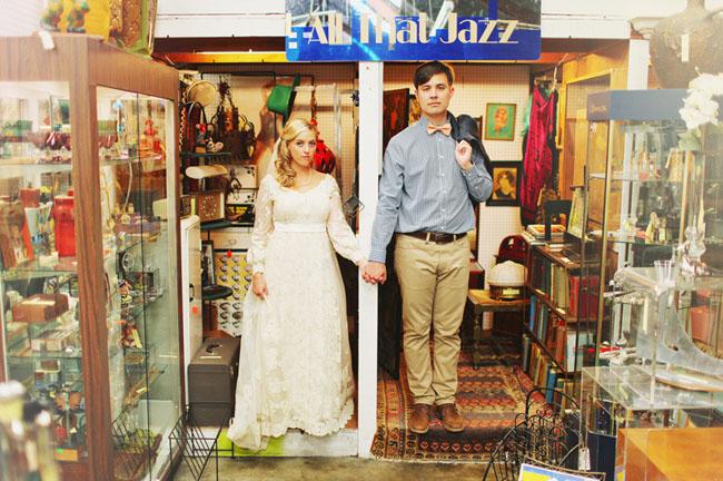 bride and groom vintage store