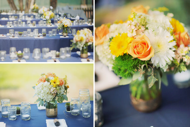orange and navy tablescape