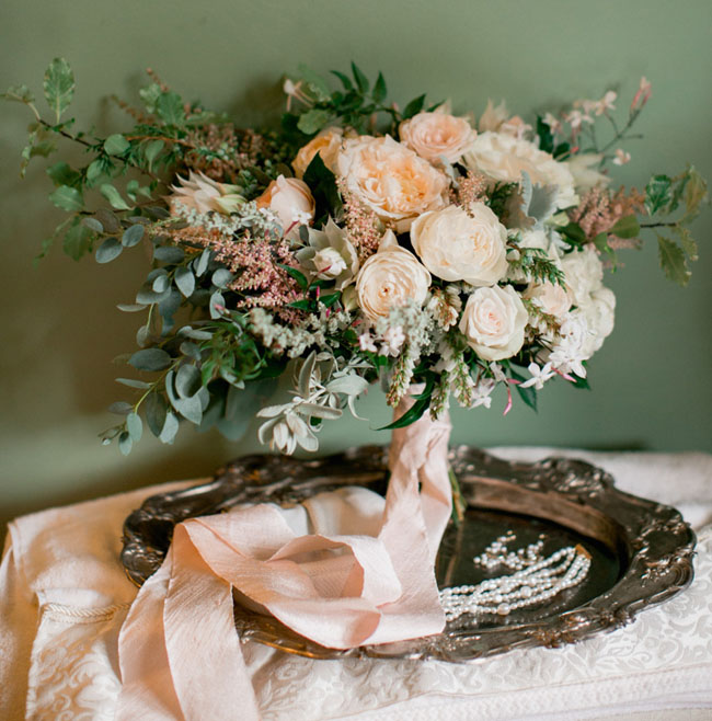 bouquet wrapped with ribbon