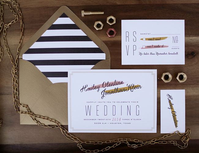gold and black stripes invitation