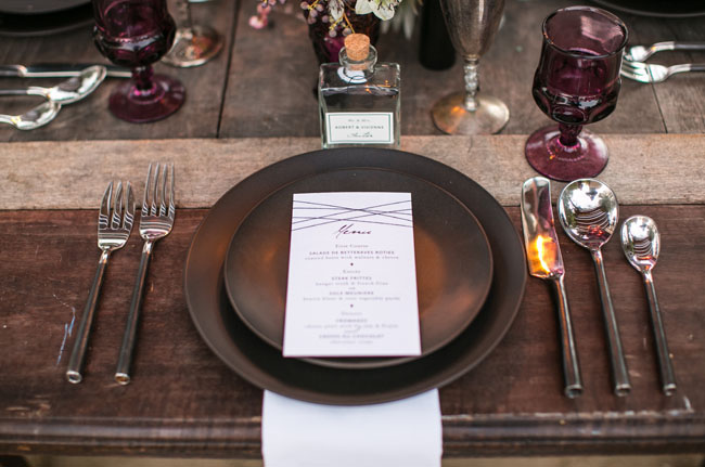 dark and moody plate setting