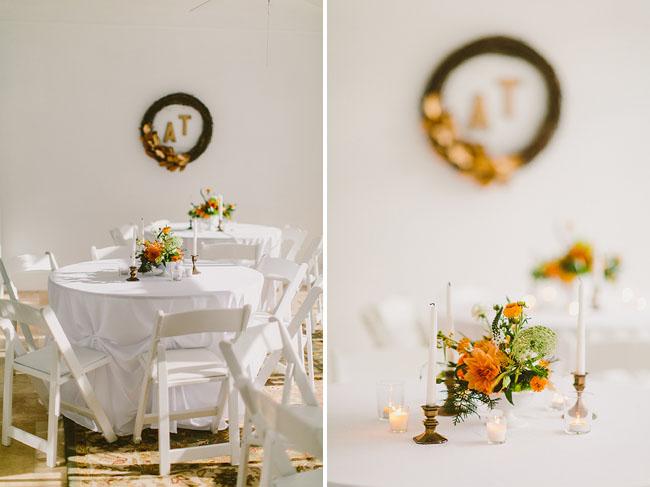 orange table flowers