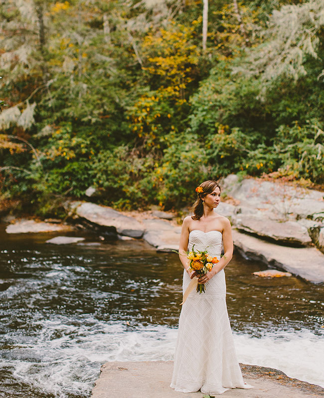 bride by river