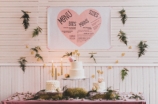 pink heart and fern backdrop