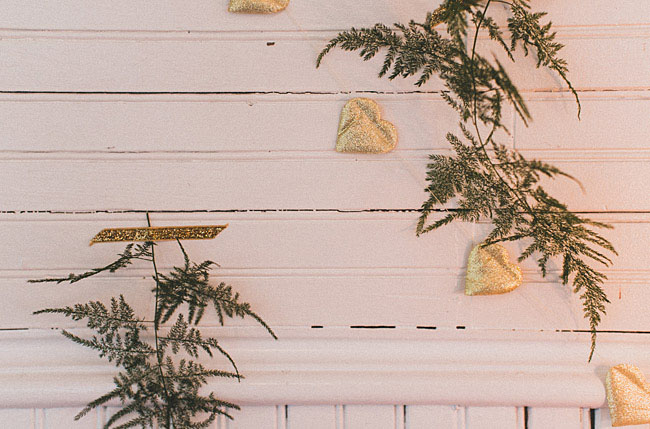 fern and gold hearts