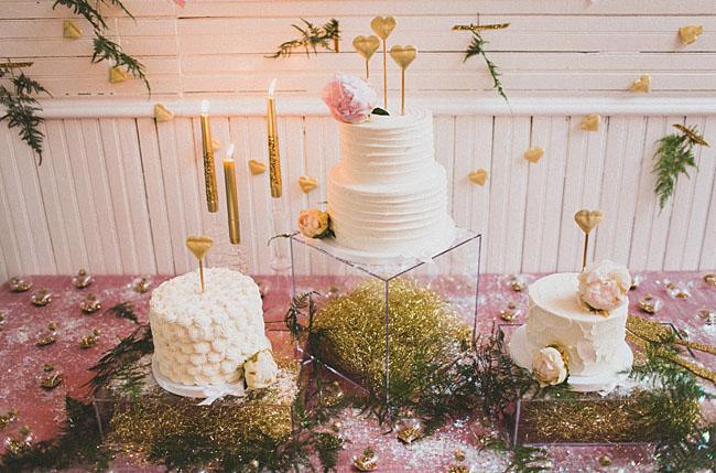three wedding cakes