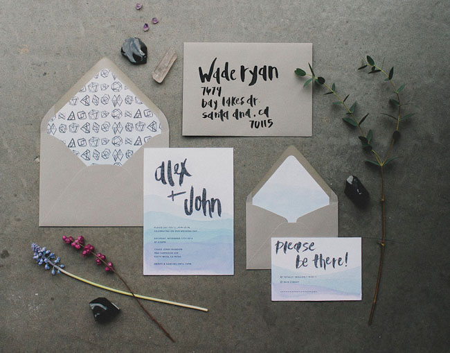 dip dye wedding invitation