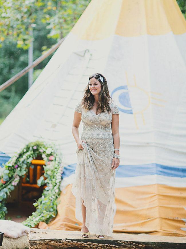 tipi wedding bride