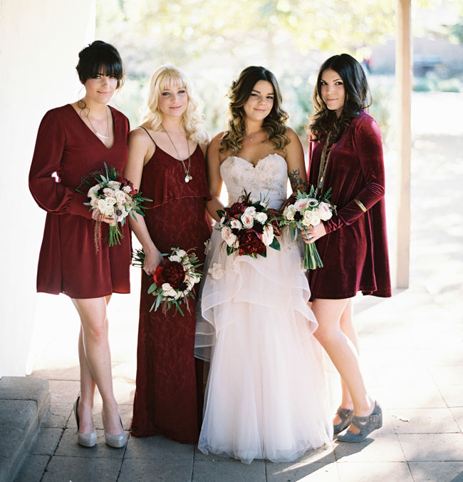 deep red velvet bridesmaids