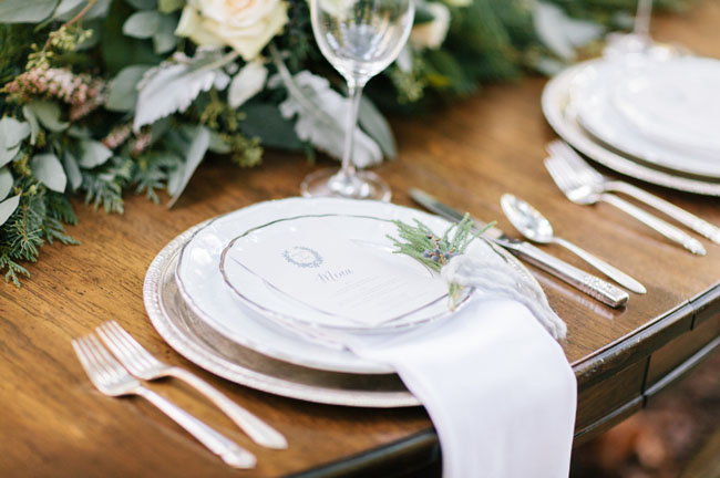 wintery white table setting