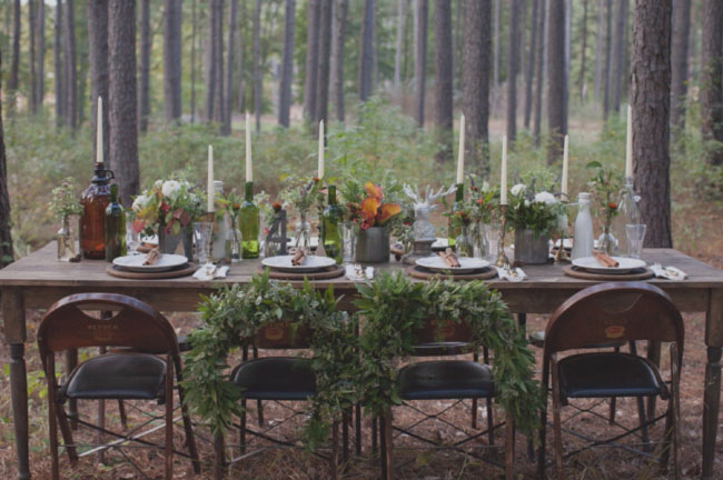 green tablescape in the woods