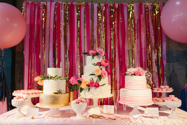 pink and gold dessert bar