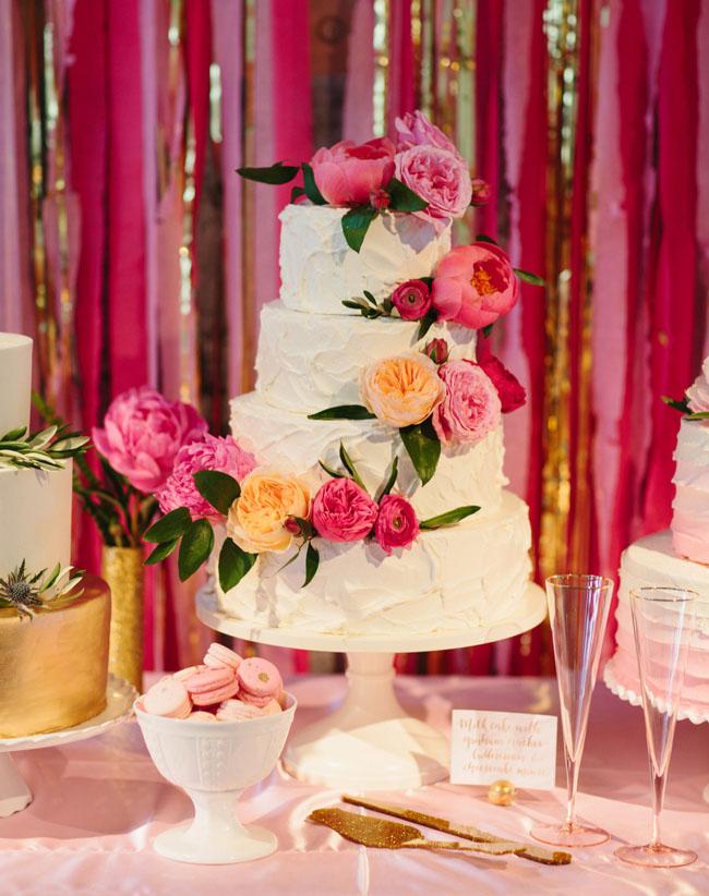peony + rose cake