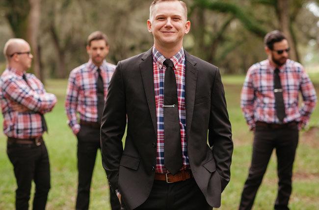 plaid groomsmen