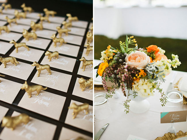 gold painted animal escort cards