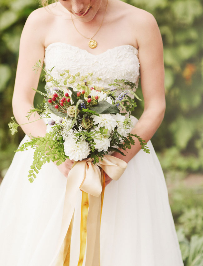 rustic bouquet with ribbon
