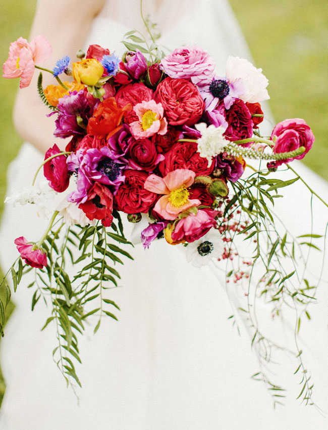 colorful red and purple bouquet