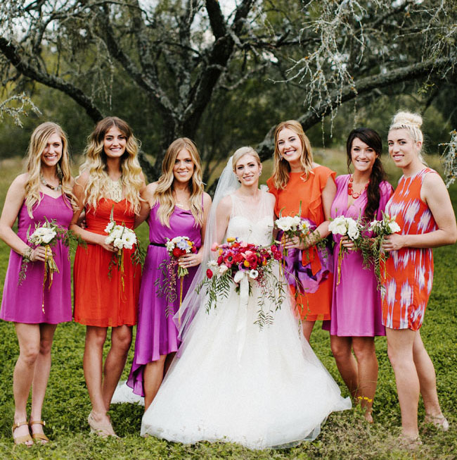 orange and purple bridesmaids