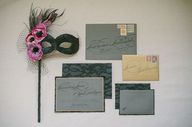 grey and gold invite