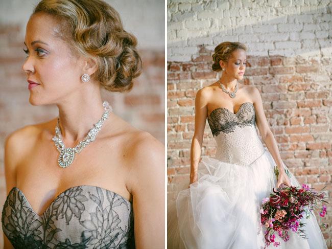 black lace top wedding dress